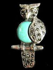 Sterling Silver Turquoise Marcasite Wise Old Owl Bird Brooch Pin Vintage style