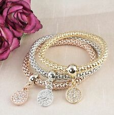 B2 Elastic 3 Colour Gold Crystal Coin Charm Bangle Bracelet Set- Gift Pouch