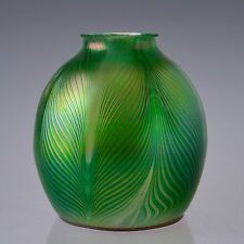 """Iridescent Hand Blown Art Nouveau Jugendstil Glass Lamp Shade 2.25"""" Fitter"""