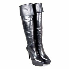 K-MM3180 New MIU MIU Sexy Knee High Black Heels Ladies Leather Boots Size 38 US8