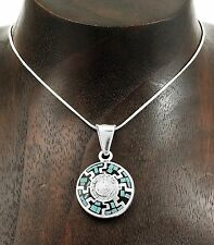 Two Sided Inlaid Turquoise Gaspiete Aztec Mayan Calendar Pendant Taxco Mexico