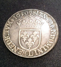 Scarce 1650-L France 1/2 Ecu Silver - French coin