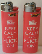 2 Pink Bic Lighters Pink Keep CALM AND FLICK ON  NEW. PINK