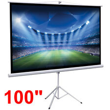 """New Portable 100"""" Projector 16:9 Projection Screen Tripod Pull-Down Matte White"""
