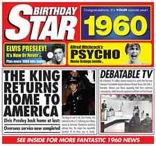 56th 1960 Birthday Gifts - 1960 Chart Hits Britpop CD and 1960 Greetings Card
