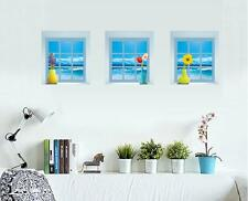 3D Blue Sea Vases Windows Home Room Removable Wall Sticker Decal Decoration
