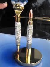 Handmade white & gold web Tru-stone 24K Bullet Fusion Razor handle with Stand