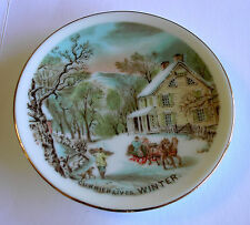 """Reproduction Currier & Ives """"Winter"""" Decorative Plate 79 mm dia (3.11"""") - VGC"""