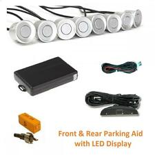 Silver 8 Point Front & Rear Parking Sensor Kit with LED Display - Toyota Yaris