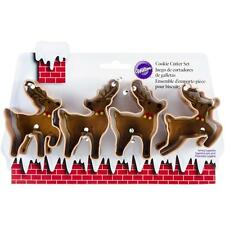 Wilton Metal REINDEER COOKIE CUTTER SET 4 Piece Pastry Cutters