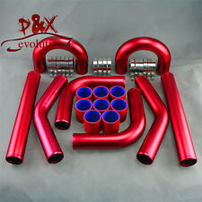 "Universal 2.5"" 63MM Turbo Boost Intercooler Pipe kit Aluminum Piping Red 8 PCS"