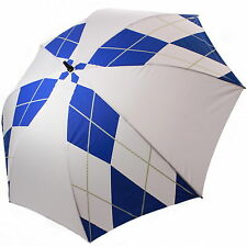 """60"""" Single Canopy Golf Umbrella White + Blue Diamond 1 Button Open Semi Auto New"""