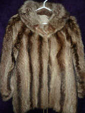"Ladies fully reversible North American Raccoon fur coat 36"" size 10 length 29"""