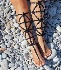 Crochet Barefoot Sandals-Black-Gladiator-Handmade- Foot Jewelry-One size-Beach