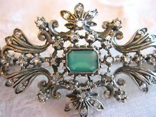 ANTIQUE EUROPEAN ROSE CUT DIAMOND STERLING SILVER PIN BROOCH TROMBONE CLASP