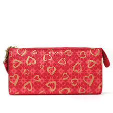 NWT Coach Program Hearts Signature C Canvas Zippy Wallet 51225B Brass/Multi Red