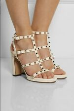 VALENTINO Rockstud Leather Caged Sandals Heels Shoes Cream sz 37 7 NEW Sold out!