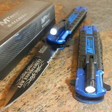 MTECH Blue POLICE Spring Assisted Open LED Tactical Rescue Pocket Knife NEW