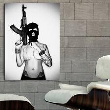 Poster Mural AK47 Tattoo Girl Erotic Pin Up 40x53 in (100x133 cm) Adhesive Vinyl