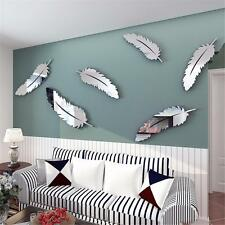 8x DIY 3D Mirror Wall Stickers Decal Silver Feather Art Home Bedroom Mural Decor
