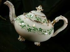 ANTIQUE H & R DANIEL  SHREWSBURY TEA POT GREEN FLORAL GILDED FEET AND TRIM c1825