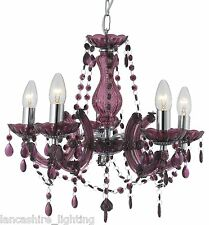 Purple  Marie Therese Chandelier Ceiling Light in Plumb & Chrome Detail 5 Light
