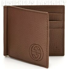 GUCCI Mens chestnut SOHO Interlocking G MONEY CLIP bifold wallet NIB Authentic!