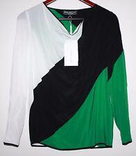 """Salvatore Ferragamo Women""""s Color Block 100% Silk Blouse Size 38 (small)"""