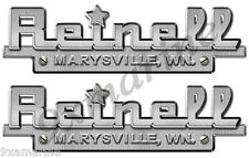 """Two Reinell Custom Decal Stickers - 10""""X3"""" Brush metal imitation"""