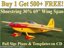 "Shoestring 30% 69"" WS Giant RC Airplane Plans & Templates on CD in PDF Format"