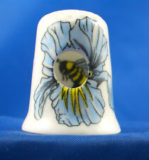 Birchcroft China Thimble -- Peephole -- Bee in Flower -- Free Dome Box