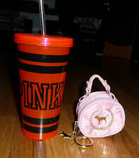 Lot Victoria's Secret PINK zipper coin purse wallet & Signature neon tumbler cup