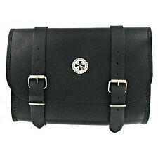 Medium Leather Motorcycle Tool Bag with Chopper Cross Concho  (#104.15)