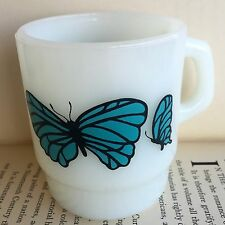 Vintage Anchor Hocking Fire King Milk Glass Turquoise Blue Butterfly Stack Mug
