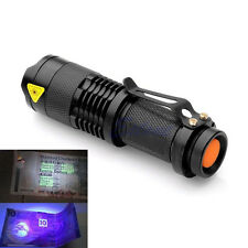 Aluminum High Power 10W UV Lamp Purple Violet Light Torch LED Clip Flashlight