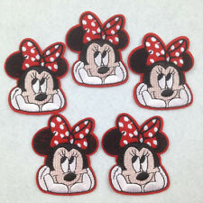 5 pcs Minnie Mouse Girl Sew on Iron On Sew On Cloth Patches Appliques Sewing #7