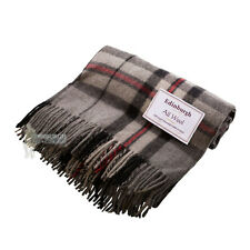 EDINBURGH - PURE WOOL SCOTTISH TARTAN RUG / BLANKET / THROW - THOMSON GREY