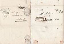 * 1850/4  2 x ITALIAN STATES LETTERS - 7 POSTMARKS & CACHETS - ITALY - STAMPLESS