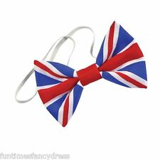Union Jack Flag Bow Tie Dicky Bow Red White & Blue UK Fancy Dress BA2890