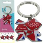 3x London 2012 Olympic Games Memorabilia Metal Union Jack Key Ring Chain Team GB