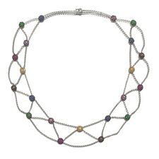 Necklace Multi Stone Sapphire Diamond Ruby White Gold 18k Chain Unique Jewelry