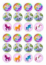 24 UNICORN TWO PONYS CUPCAKE TOPPER WAFER RICE EDIBLE FAIRY CAKE BUN TOPPERS