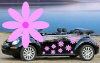 32 PINK DAISY FLOWER CAR DECALS,STICKERS,CAR GRAPHICS,DAISY STICKERS