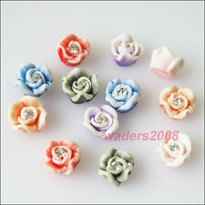 15 New Beads Mixed Flower Fimo Clay Flatback Beads Nail Art Tips Decoration 8mm