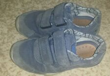 Geox Respira Boys Leather Suede Sneakers Casual Shoes Blue Size US 10.5 / EU 28