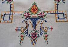 """Vintage Linen Tablecloth Petit Point Embroidery Pink Red Urns Flowers 48"""""""