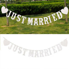 JUST MARRIED Western Wedding Banner Party Decoration Bunting Garland Handmade