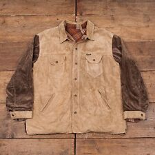 "Mens Vintage Diesel Leather Corduroy Reversible Jacket Beige Brown L 44"" R4646"
