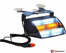 18 LED Amber White Light Emergency Vehicle Warning Strobe Yellow Dash Windshield