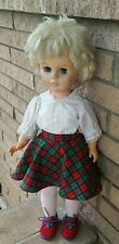 "Vintage 24"" Vinyl Walking Doll bleach blonde cropped haired dressed school girl"